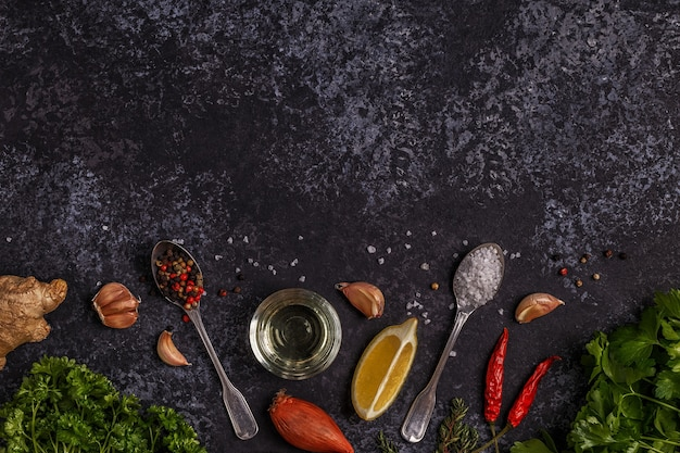 Background with spices, herbs and olive oil