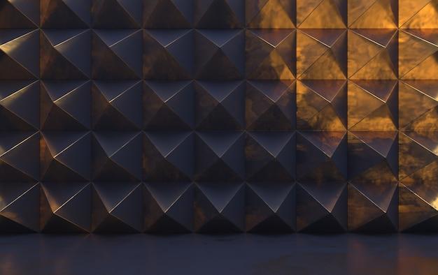 Фон с треугольными геометрическими фигурами, пирамиды в темных тонах с золотыми акцентами, 3d визуализация