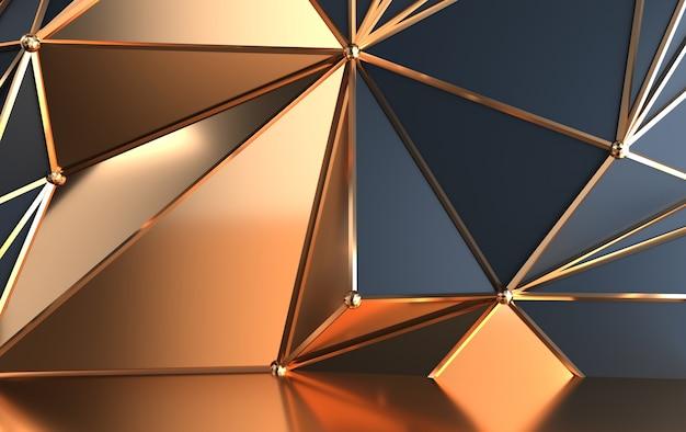 삼각형의 기하학적 모양, 금 액센트가있는 어두운 그늘의 피라미드, 3d 렌더링 배경