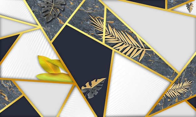 Фон с предупреждающими полосами 3d абстрактные черные настенные обои с золотыми листьями и линиями деревьев