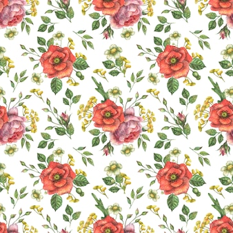 Background with watercolor poppy and peony flowers and green branches