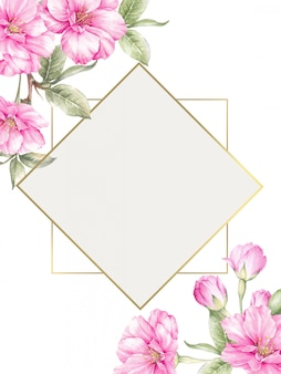 Background with watercolor sakura flowers and elegant frame