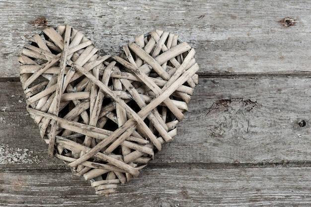 Background with wicker heart