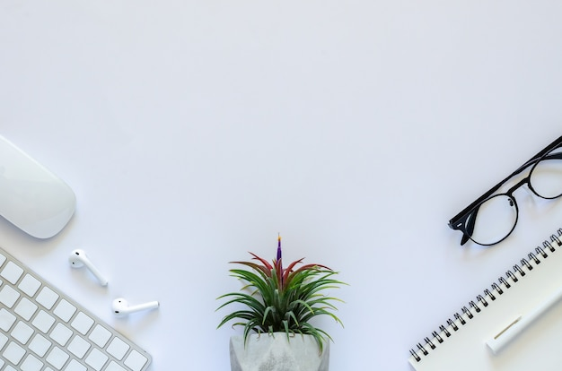 Background of work space concept with air plant tillandsia, mouse, keyboard, earphone, notebook, pen and spectacles on white background.