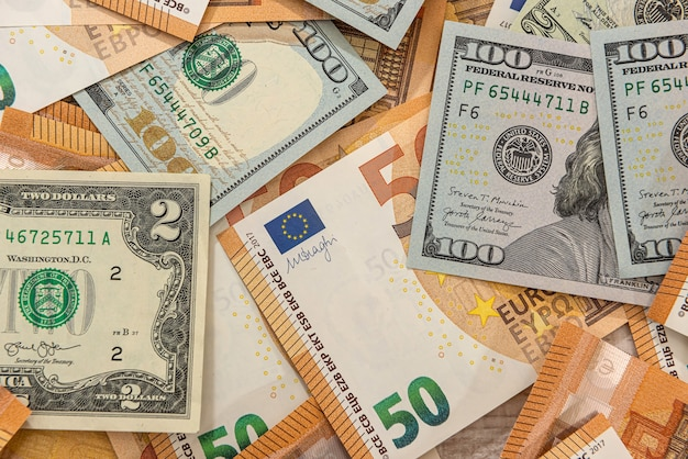 Background of the world's two largest currencies, the dollar and the euro. financial