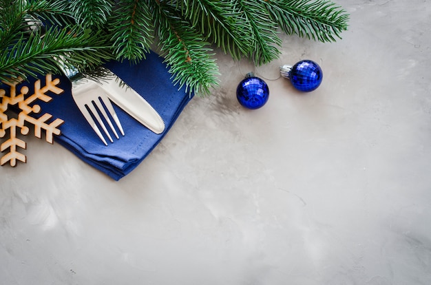 Background for writing the christmas menu. winter table setting.