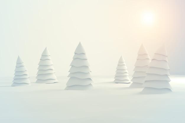 白いbackground3dに分離された抽象的な白いクリスマスツリー