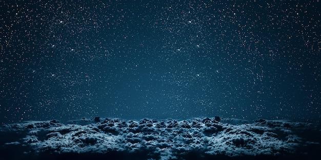 Фон ночное небо со звездами, луной и облаками. элементы этого изображения предоставлены наса