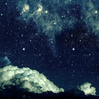 星と月と雲と背景の夜空。木材。 nasaによって提供されたこの画像の要素