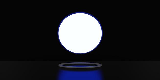 Дисплей с подсветкой и изогнутой рамкой, подставка для дисплея, неоновый свет, черный фон, 3d-рендеринг