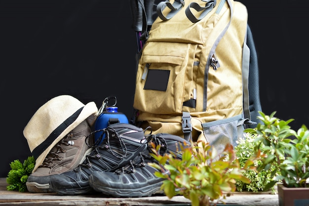 Backpack hiking with boots of mountain