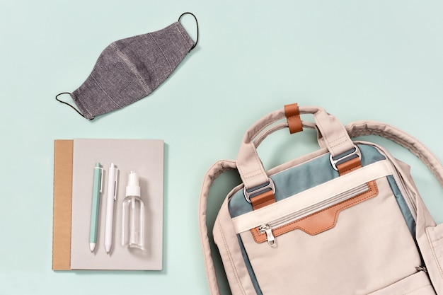 Backpack with school supplies, face mask and hand sanitizer