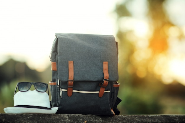 Backpack with sunset