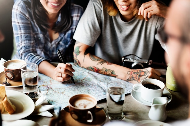 Карта планирование поездки назначение backpacker concepct