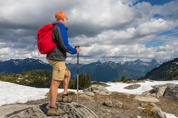 Backpacker in a hike in the summer mountains