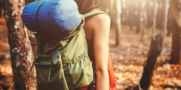 森林だけで旅行しているバックパッカー