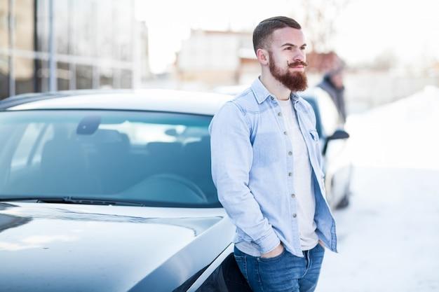 Backseat adult business businessman beard