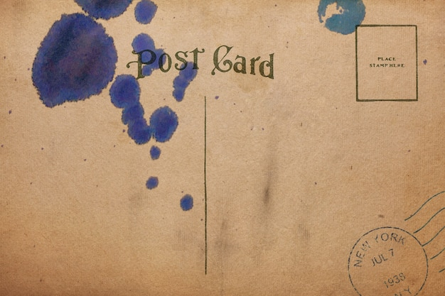 Backside of blank postcard with ink stain