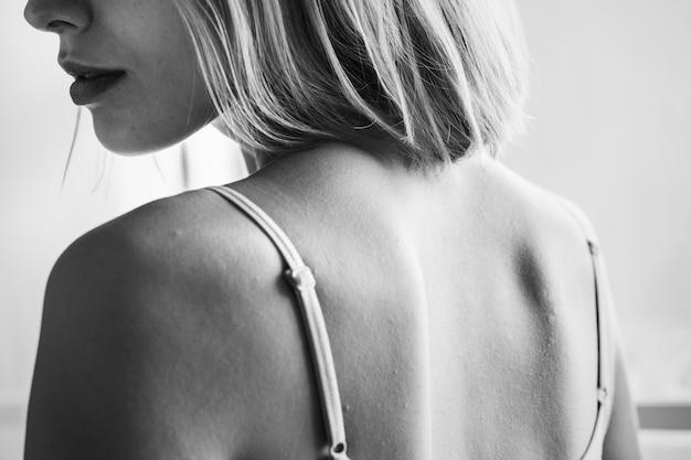 Backside portrait of caucasian woman