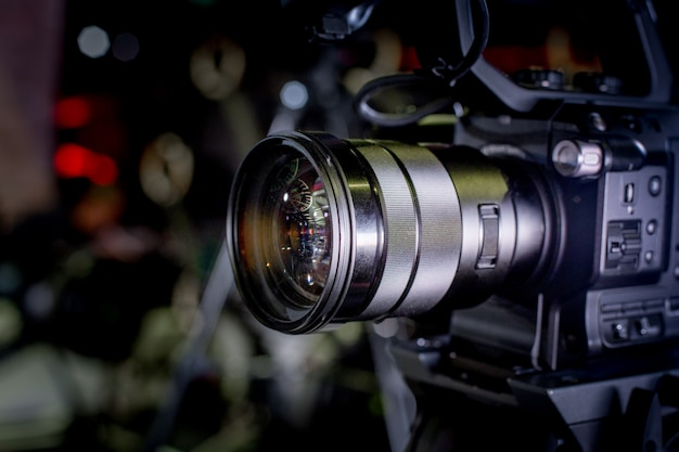 Backstage of video production professional video cameras