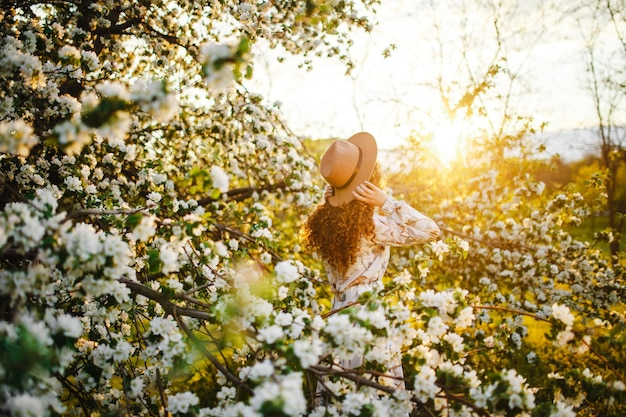 Backview of a young woman among the white blossom of the apple trees at the spring park. female wearing white dress and beige hat feeling fresh and enjoys good weather on the sunset. season concept.