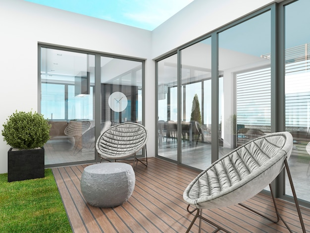 Backyard houses in the style of contemporary with two modern chairs. 3d rendering