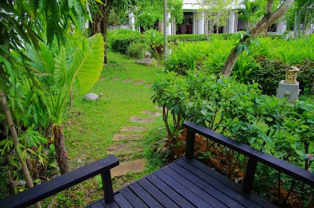 Backyard with beautiful garden, oriental style