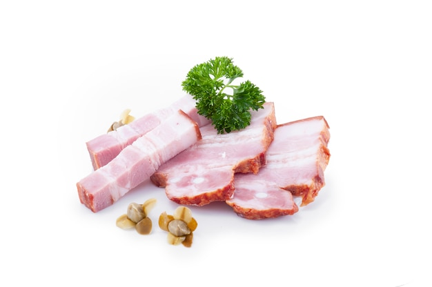 Bacon chop pieces meat delicacy. grease lard isolated