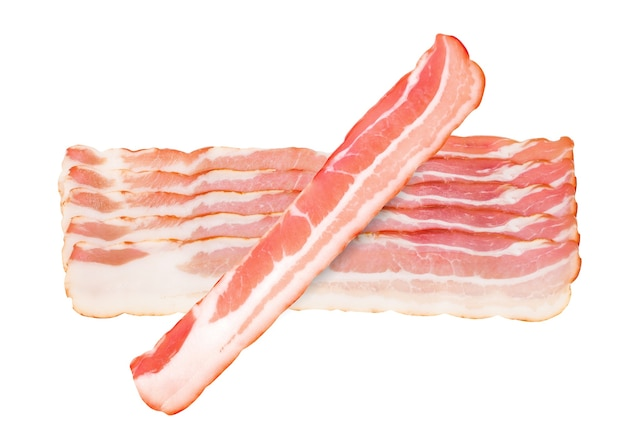 Bacon raw, several strips sliced isolated