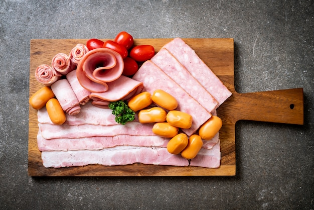 Bacon, sausage, smoked ham and barbecue bacon