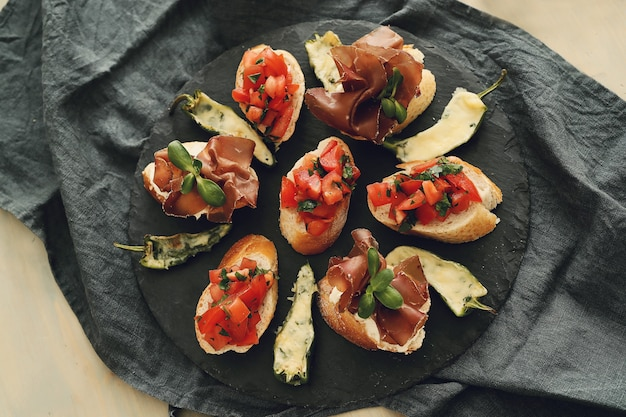 Bacon snacks. traditional spanish tapas