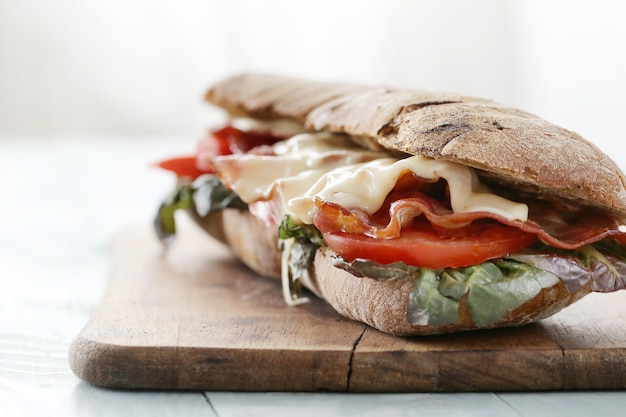 Bacon, tomato and cheese sandwich