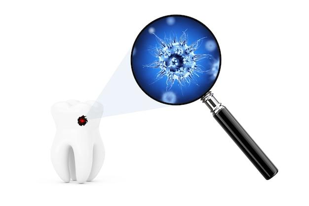 白い背景の上の虫眼鏡を通して見た歯の細菌とウイルス。 3dレンダリング。
