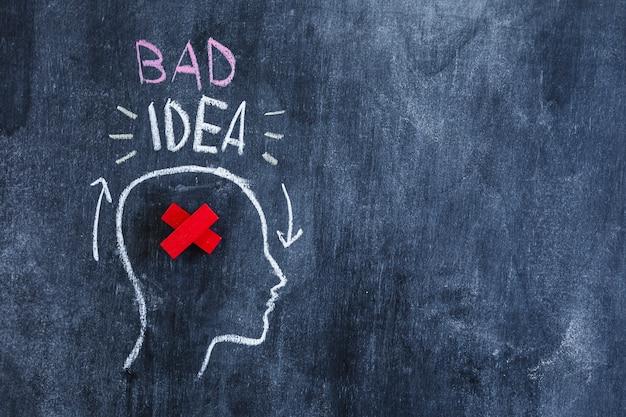 Плохой текст идеи над головой с красным крестом в голове, нарисованным на доске
