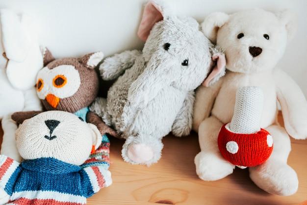 Bad teddy bear and toys
