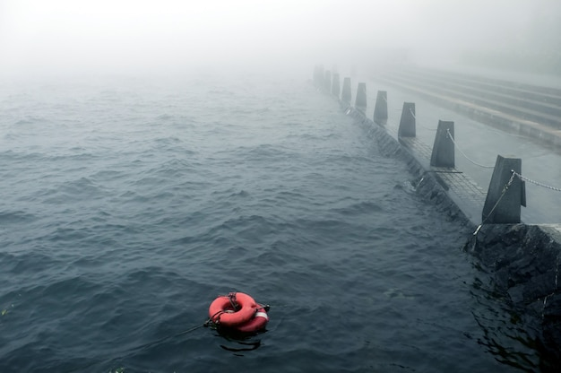 Bad weather with mist on the embankment with redlife-buoy on the water