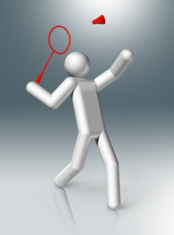 Badminton 3d character, olympic sports