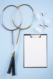 Badminton equipment with clipboard composition