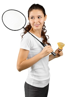Badminton player isolated on white