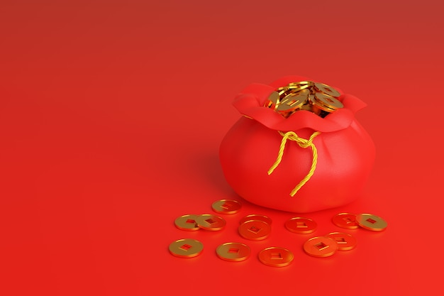 Bag full of chinese golden coins, symbol of prosperity, isolated on red background.