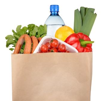 白で隔離の食料品の袋