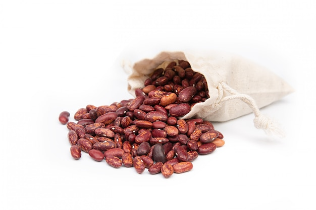 Bag of red beans on a white space