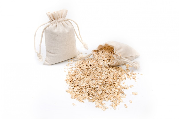 Bag of rolled oats on a white space
