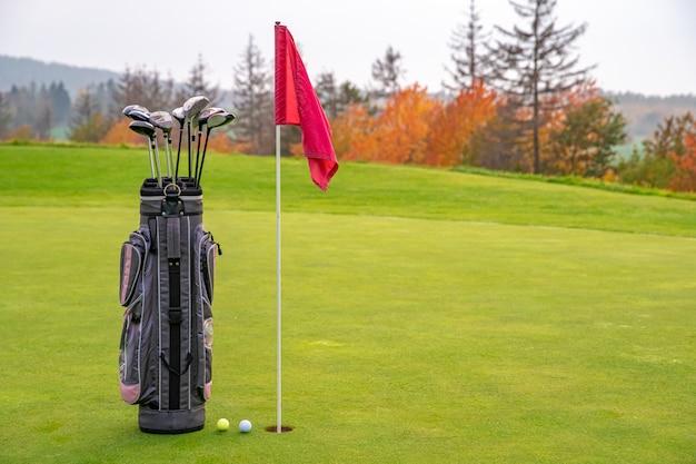 Сумка с клюшками для гольфа на зеленом
