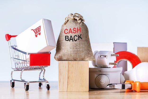 キャッシュバックのお金とカウンター上のさまざまな製品が入ったバッグ。お金を節約するという概念。