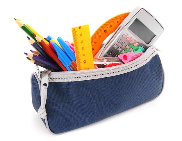 白の学校の道具が入ったバッグ