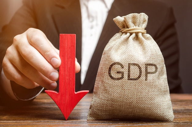 A bag with the word gdp and a down arrow
