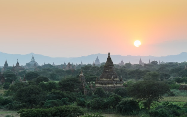Bagan ancient temples at sunset, myanmar