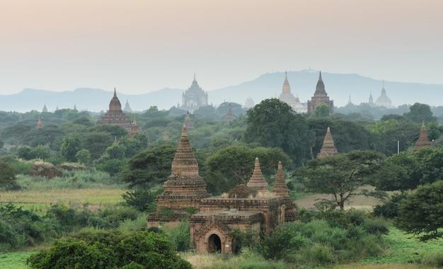 Bagan temples at sunset, myanmar