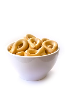 Bagels in a plate, white background